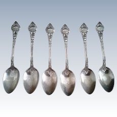Set of 6 Antique Wendell Ornate Sterling Silver Spoons