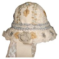 Antique Laces, Embroidery, Rosettes and Glass Beading Doll Bonnet