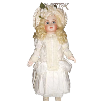 Vintage Handmade White Cotton Doll Dress in Antique Style with Hat
