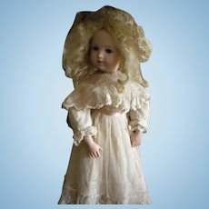 Antique Over Lace Tulle Doll Dress with Silk Lace Hat