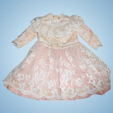 Antique Over Lace Pink and Peach Silk Doll Dress