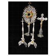 Rare Antique French Jeweled Doll House Monstrance, Cross and Candle Sticks