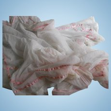 Art Deco Tulle with Pink Ribbon and Rosettes Runner over 2 yards