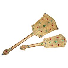 Antique Filigree Jeweled Hand Mirror and Brush Set