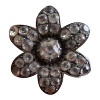 Georgian Paste and Silver Flower Brooch
