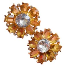 Mazer Citrine Faceted Crystal Glass 'look of real' GP Earrings