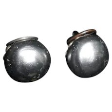 Vintage French Louis Rousselet Poured Glass Black 'Pearl' Earrings