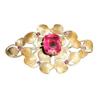 Art Nouveau Clover Design Pink Paste Brooch