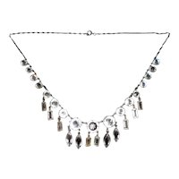 Art Deco Faceted Crystal and Sterling Fringe Necklace