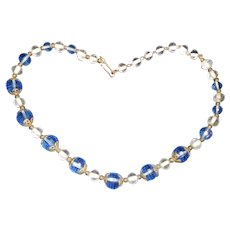 Art Deco Blue Faceted Crystal and Round Glass Necklace