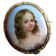 Antique Sentimental Miniature Painting of Little Girl in Clouds