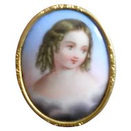 Small Antique Sentimental Miniature Painting of Little Girl in Clouds