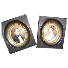 Pair of Antique Husband and Wife Miniature Portraits