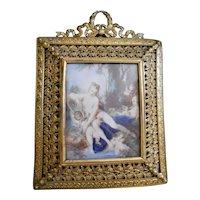 Antique Miniature Painting after François Boucher Venus Bathing