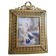 Antique Miniature Painting after François Boucher Venus Bathing