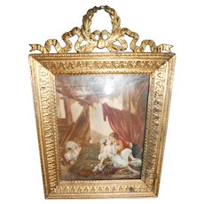 Antique French Miniature Painting after French 'Lost Virtue'