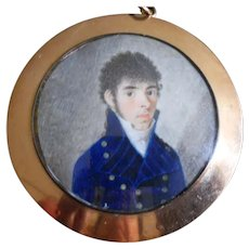 Antique Miniature Painting of a Gentleman in Gold Frame