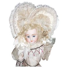 Incredible Antique Lace Heart Shaped Doll Bonnet