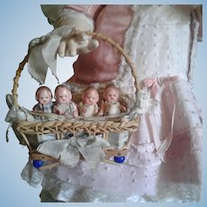 Antique Tiny German Babies in Small Basket