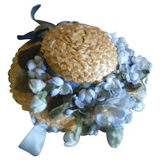 Old Blue Flower Millinery and Ribbon Doll Bonnet