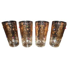 Culver MARDI GRAS Jeweled 22 kt goldJester Harlequin Hi-ball Glasses - 4