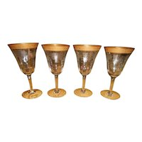 Four Tiffin Wine Glasses Gold Encrusted Etched French Garland Basket Design