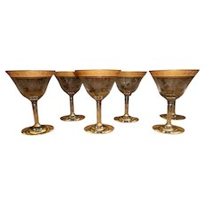Six Tiffin Sherbet Glasses Gold Encrusted Etched French Garland Basket Design