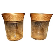Pair of Tiffin Shot Glasses Gold Encrusted Etched French Garland Basket Design