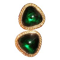 Vintage Poured Glass Emerald Glass Gold Plated Earrings