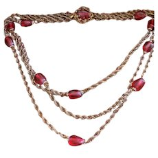 Triple Strand Chain Red Gripoix Rondelle Necklace