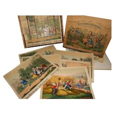 Antique German Children's Painted Lithograph Box of Blocks