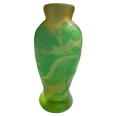 Galle Cameo French Glass Bud Vase