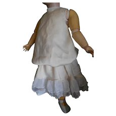 Creamy Silk Charmeuse Doll Dress with Tulle Netting Trim