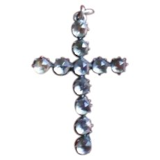 Georgian Black Dot Point Cut Paste and Silver Cross with chain