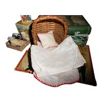 Small Vintage Baby Doll Rocking Bed with Old Padding, Pillow & Cover