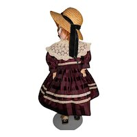 Vintage Burgundy Doll Dress with Lace Collar and Straw Hat