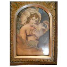 Victorian Hand Painted Lithograph of Girl in Original Frame