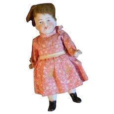 Antique Mignonette Painted Eyes in Original Dress with Original Wig