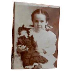 Antique Miniature Gem Photo of Little Girl holding Doll