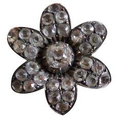 Georgian Black Dot Paste and Silver Brooch