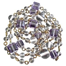 Art Deco Crystal Orbs and Amethyst Glass Necklace