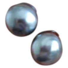 Louis Rousselet Poured Glass Black Pearl Earrings