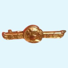 Antique French Gold FIX Bebe Pin with Toddler Face Motif