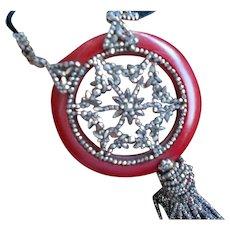 Art Deco Marcasites Pendant on Original Velvet Necklace