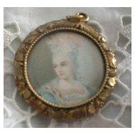 Petite Antique Hand Painted Charm Portrait