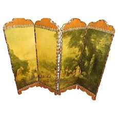 French Courting Scene Doll Room Divider  with Metallic Trim