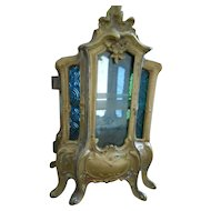 Antique French Rare Stained Glass Miniature Vitrine