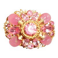 Vintage Pink Poured Glass Filigree Brooch