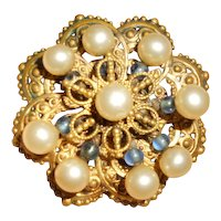 Early Louis Rousselet Blue Poured Glass and Faux Pearl Brooch