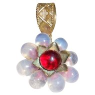 Petite Vintage French Opaline and Ruby Poured Glass Pendant